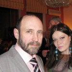 Александр Рябичев с женой Александрой Загряжской на приеме в индийском посольстве 2 марта 2010 года