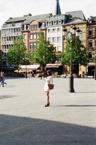 Александра Загряжская в Люксембурге во время съемки сюжета на ТВ